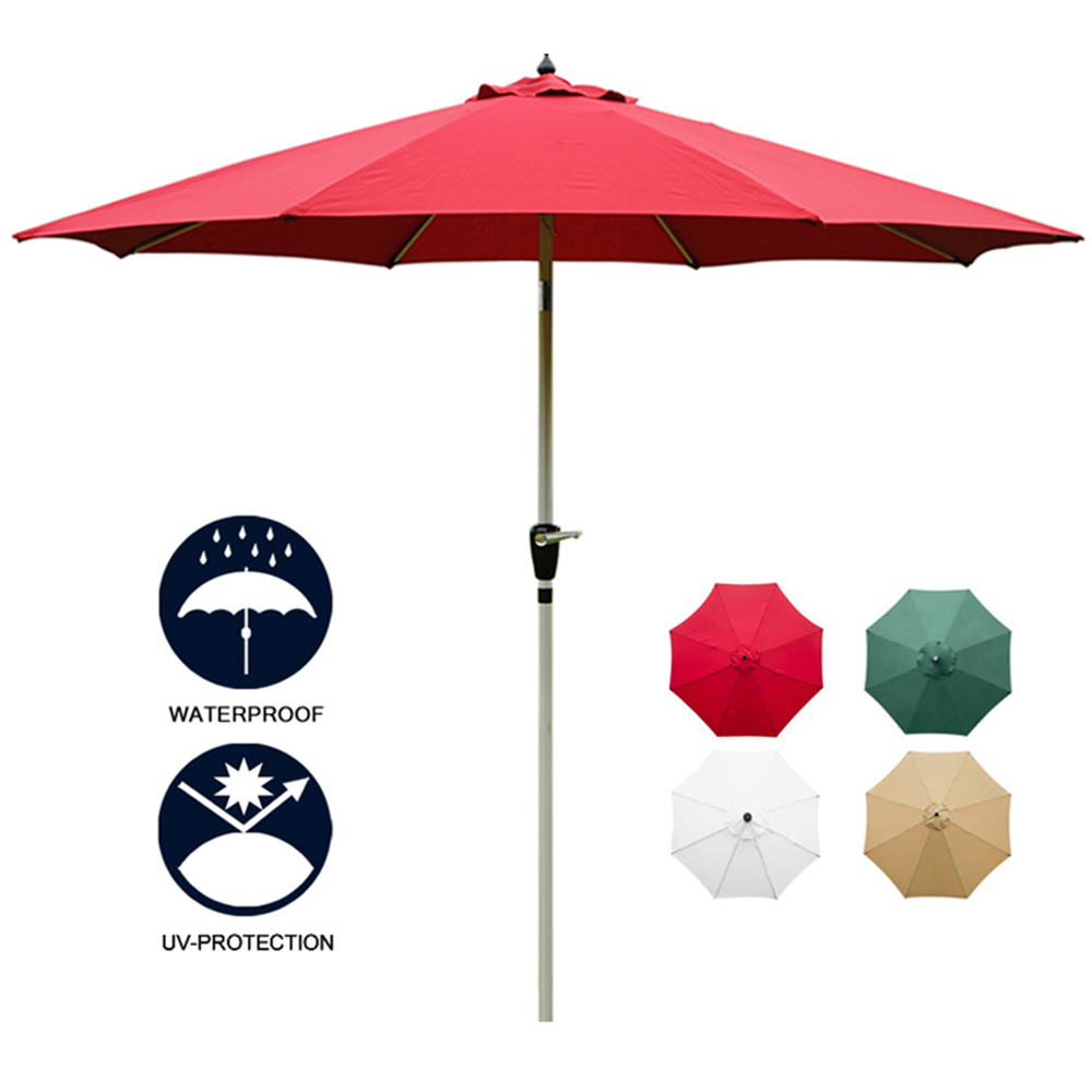 HooRu Patio Garden Umbrella Outdoor Furniture Market Umbrella With Crank Waterproof UV-Protection Fishing Garden Canopy Parasol