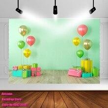 Avezano Fondo de fotografía verde, globo de fiesta de nacimiento, regalos, retrato para estudio fotográfico, Photozone, decoración de sesión fotográfica