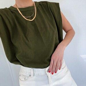Image 5 - Deuxtwinstyle décontracté femmes débardeur O cou sans manches ample ruché Streetwear gilet pour femme mode vêtements 2020 printemps marée