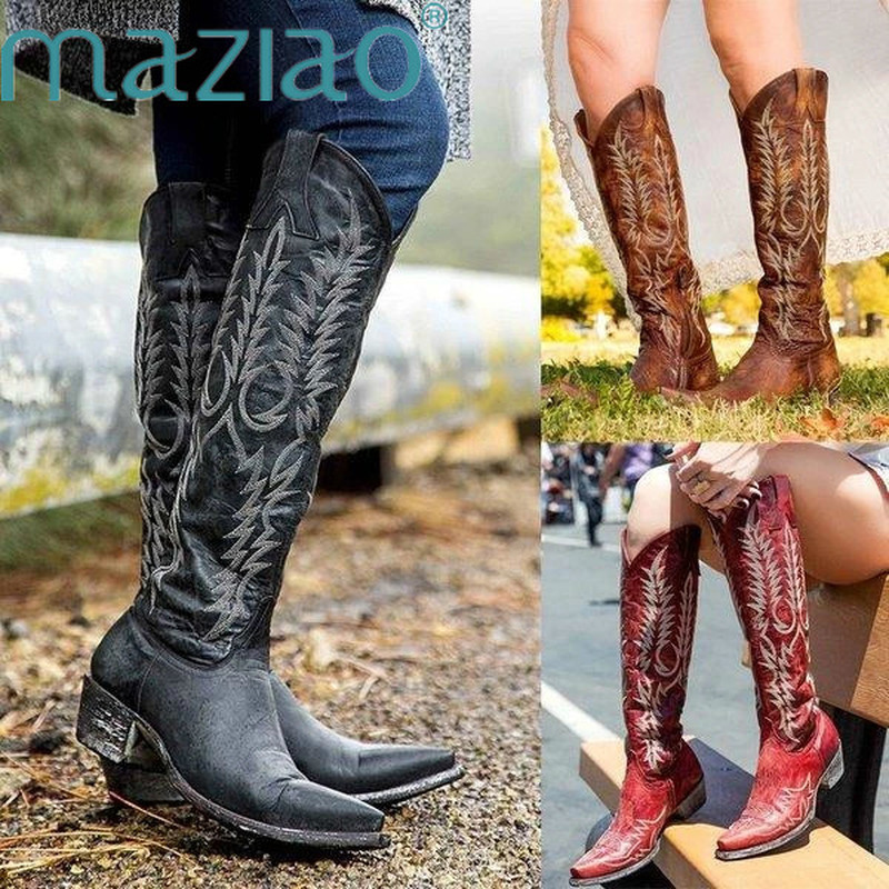 Vintage Women Knee High Boots Leather