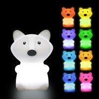 Lámpara LED nocturna con Sensor táctil para niños y bebés, luz de noche de 9 colores alimentada por batería, de silicona, para regalo