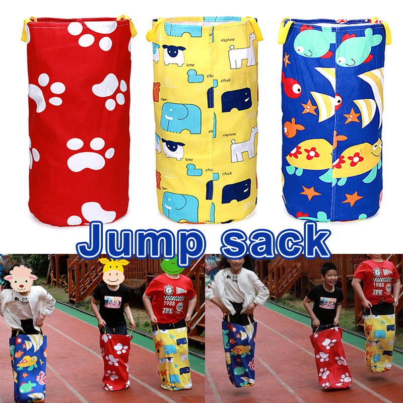 Colorful Printed Jumping Bag Play Outdoor Sports Games For Kids Children Potato Sack Race Bags Kangaros Jumping Bag  WHS