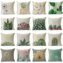 Nordic Style Succulents Printed Cushion Cover Pineapple Ananas Pattern Pillow Case Home Decorative Sofa Car Chair Throw Pillows