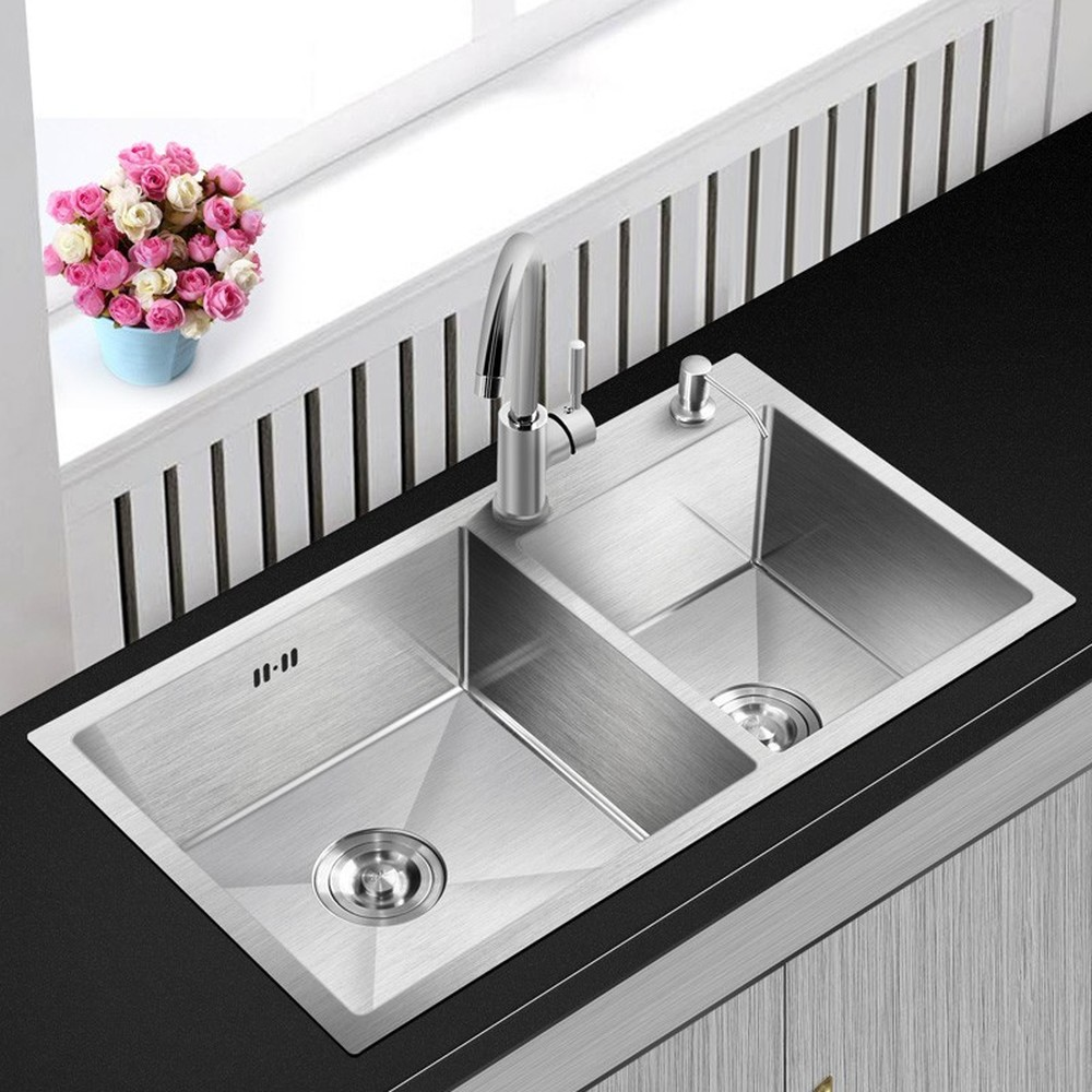 Double Brushed Silver Kitchen Large Sink Above Counter Basin With Faucet 304 Stainless Steel 4mm Thickness Sink