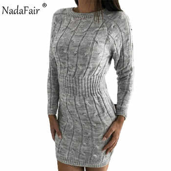Nadafair Casual Long Sleeve Sweater Dress Winter Twist Elegant Mini Bodycon Autumn Warm Knitted Dress Women Robe Pull - DISCOUNT ITEM  42% OFF All Category