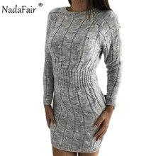 Nadafair Vestido corto femenino de punto con manga larga para otoño, minivestido elegante para mujer, tejido en rosa, blanco y negro, para invierno