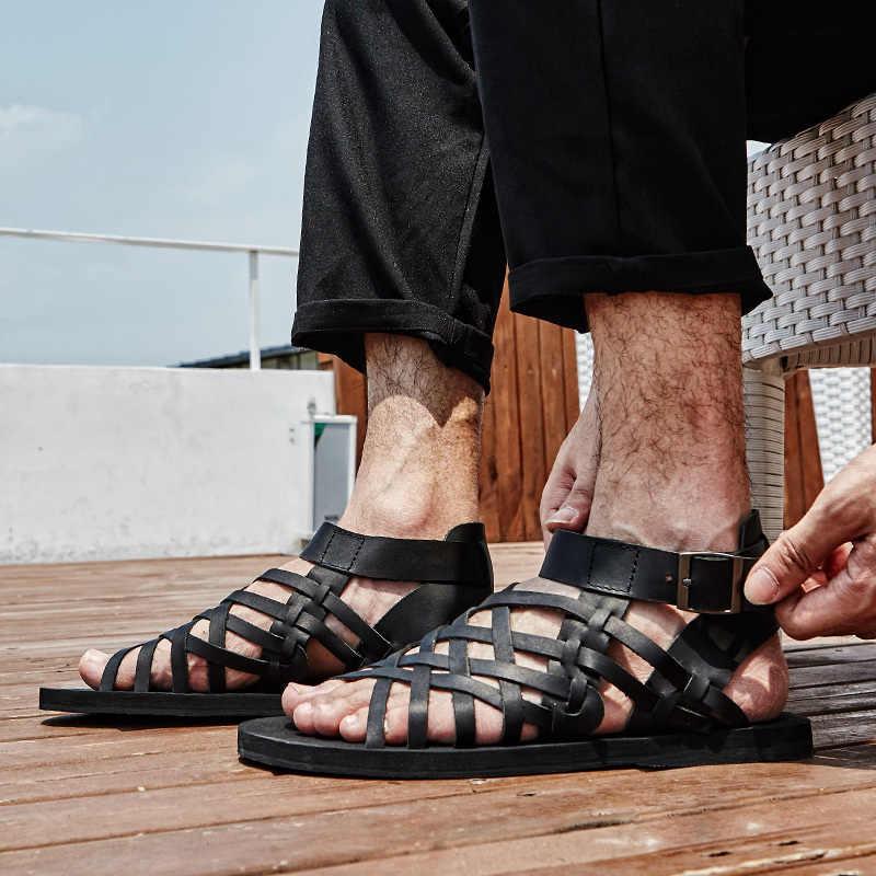 En kaliteli erkek yaz sandalet toka askı hakiki deri roma sandalet gladyatör ayakkabı tasarımcısı rahat plaj sandaletleri erkek 2020