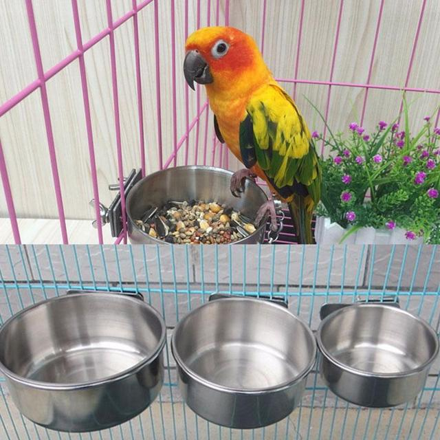 Stainless Steel Cage Coop Hook Cup Bird Parrot Feeding Cups Cage Hanging Bowl Bird Coop Cups Seed Water Food Dish Feeder Bowl 4