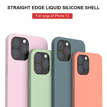 Luxury Square Edge Liquid Silicone Case for iphone 11 12 pro max mini xr xs Max SE 2020 7 8 6S Plus Color Cases Shockproof Cover image