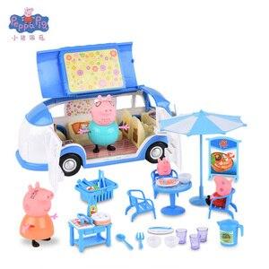 Image 2 - Peppa豚ジョージおもちゃセットロードスターステーションワゴン家バス人形セットアクションフィギュアのおもちゃ子供の漫画の誕生日ギフト