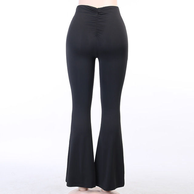 Viifaa Black Solid High Waist Skinny Flare Pants Women 2020 Ruched Back Slim Fit Femme Spring Stretchy Trousers 5