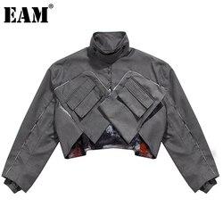 [EAM] Loose Three-dimensional Pocket Multi-wear Printing Stitching Jacket Long Sleeve Women Fashion Autumn Winter 2021 1DD3143