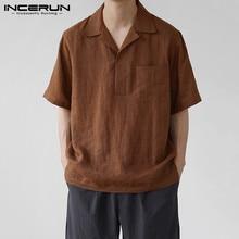 Men Shirt Blouse INCERUN Vintage Cotton Short-Sleeve Collar Casual Solid-Color Summer