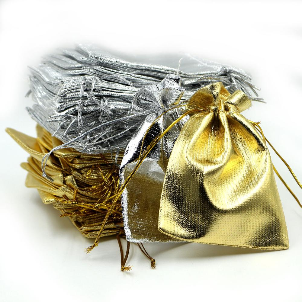 100pcs/lot 10x12cm Golden/Silver Color Drawstring Organza Bag Pouch Christmas Wedding Party Gift Jewelry Packaging Bags