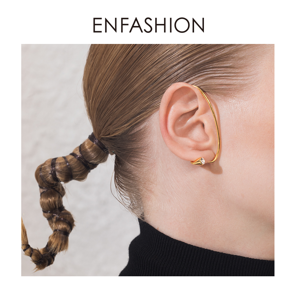 ENFASHION Curve Crystal Ear Cuff Clip On Earrings For Women Gold Color Punk Rock Line Earings Without Piercing Jewelry E191093