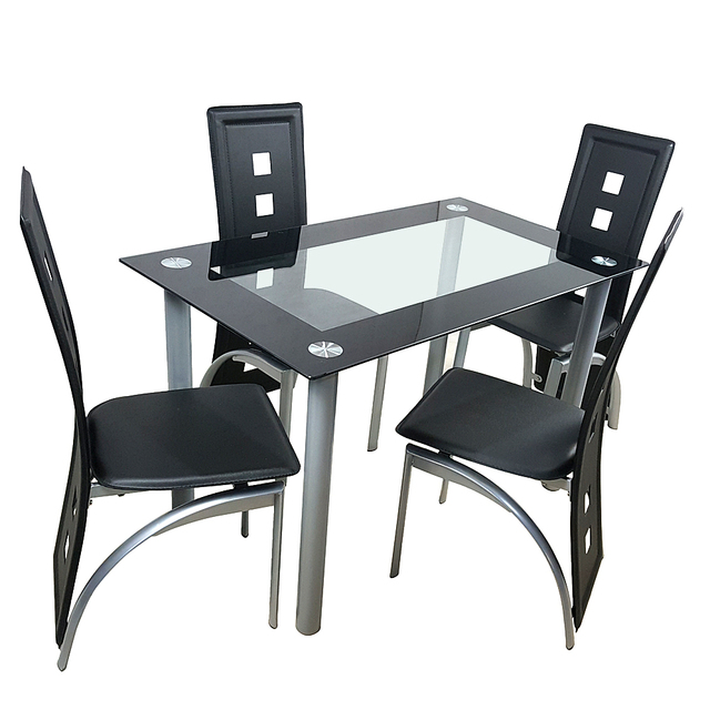 110cm Dining Table Set Tempered Glass Dining Table with 4pcs Chairs Transparent & Black 6