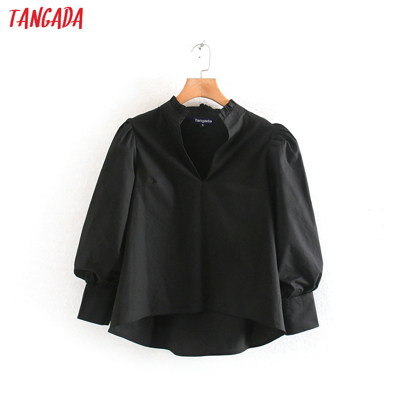 Women Elegant Solid Black Blouse Puff Three Quarter Sleeve Shirts Female Casual Chic Tops Blusas XN209