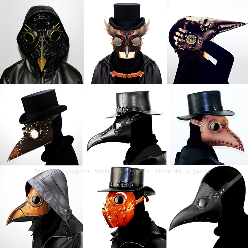 Gothic Steampunk Plague Doctor Schnabel Caps Halloween Crow Clown Devil Masks Party Headgear Anime Cosplay Horror Scary Costumes