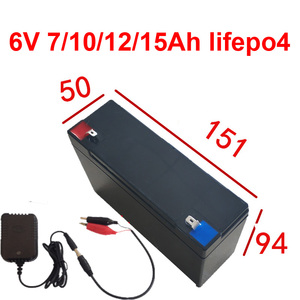 6V 7Ah 10Ah 12Ah 15Ah lifepo4 lithium battery for scale Access control Children's toy car lamp airplane rc tank + 1.5A charger(China)