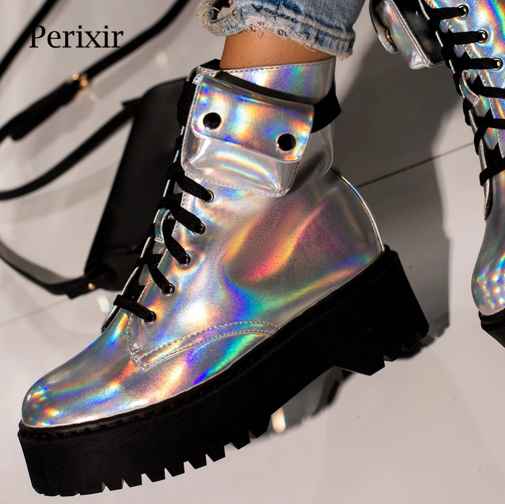 Lace-up Ankle Biker Boot in Holographic Silver PU Leather Flat Ankle Rubber Boots with Cargo Pocket Winter Platform Boots Women