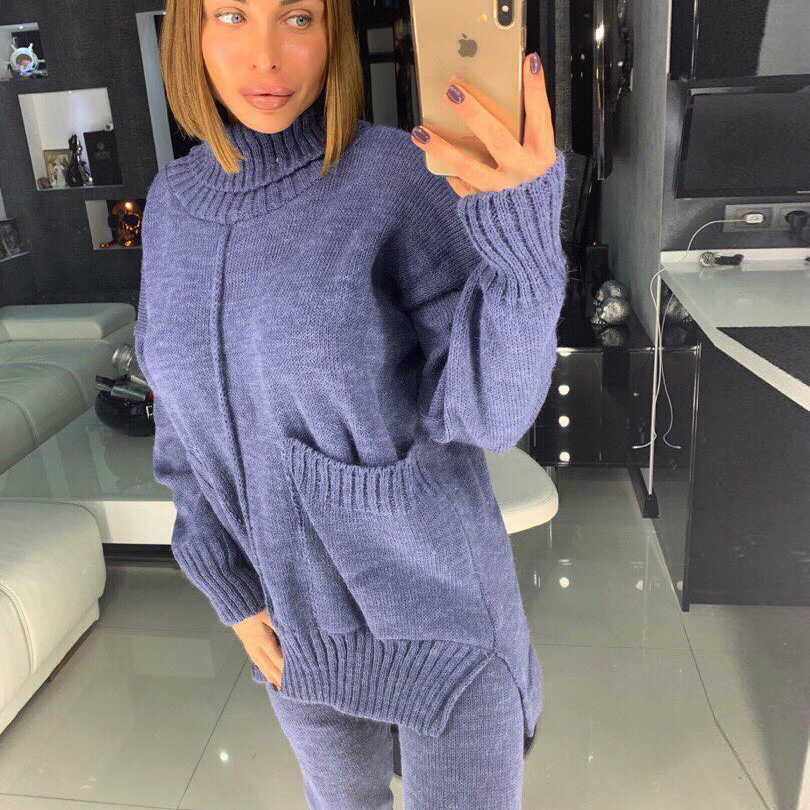 Taotrees  Autumn And Winter Women Solid Color Turtleneck Pullover Long Sleeve Tops Long Pants Sweater Suit