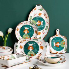 Cartoon Hand Painted Underglaze Ceramic Tableware Creative Pastoral Green Painting Plate Household Dining Table Set