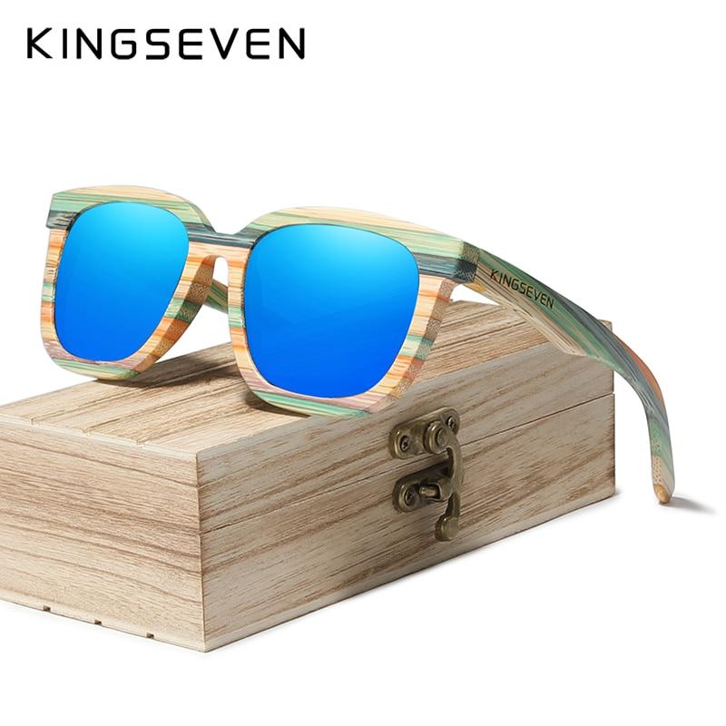 KINGSEVEN Handmade Retro Natural Bamboo Sunglasses Men Women Polarized Mirror UV400 Sun Glasses Full Frame Wood Shades