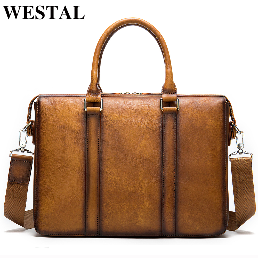 WESTAL Business Men Briefcase Bag Men's Genuine Leather Laptop Bags Office Bag For Men Bags For Documents Leather Briefcases Man