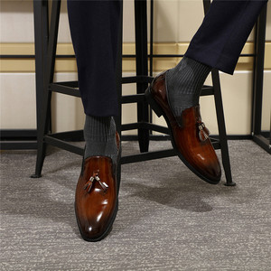 Image 5 - פליקס CHU פטנט עור גברים ציצית בטלן נעלי שחור חום להחליק על Mens שמלת נעלי חתונה נעליים רשמיות מסיבת גודל 39 46