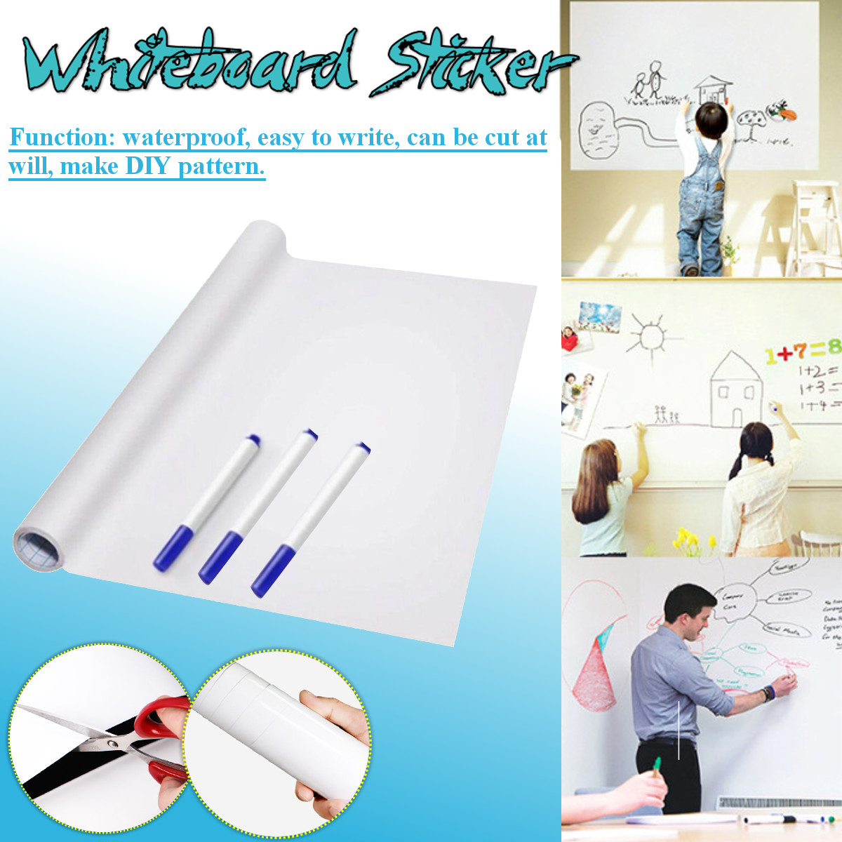Self-adhesive Flexible Whiteboard Vinyl Dry Wipe White Board Marker Record Message Board Remind Memo For Office School Fridge