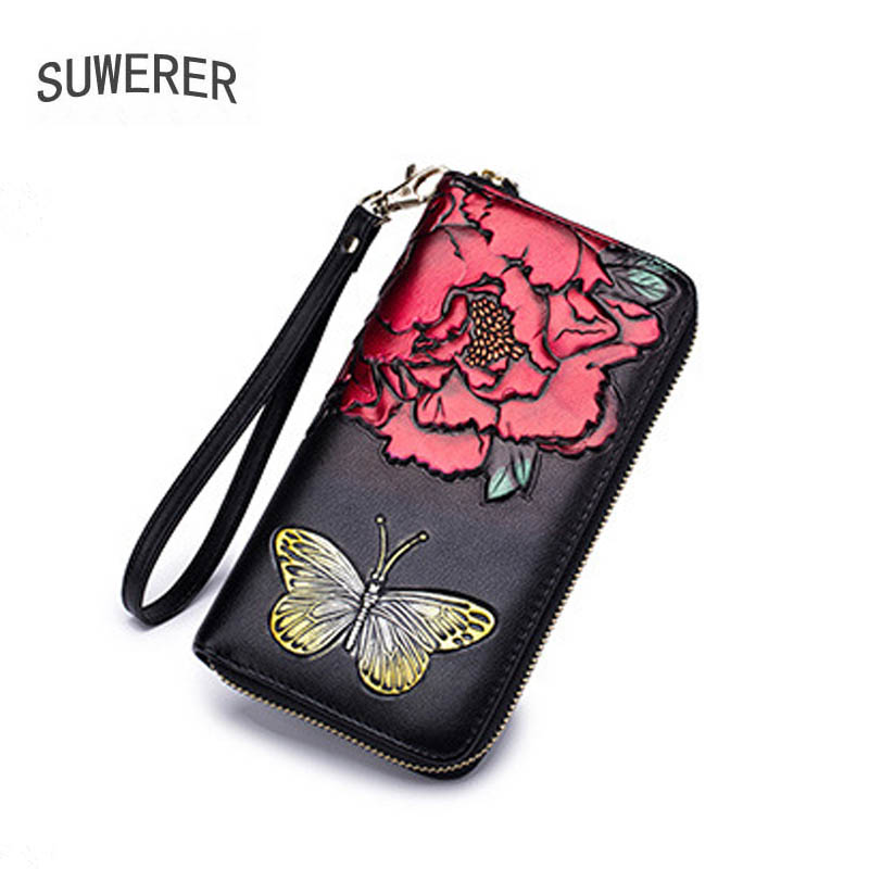 New Women Leather Bags Fashion Women's famous brand Designer Luxury Flowers women wallets purse clutch bag women