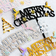 Merry Christmas Cake Topper Gold Silver Elk Frozen Party Acrylic Snowflake Decorating Sweet Gifts for Baking Supplies