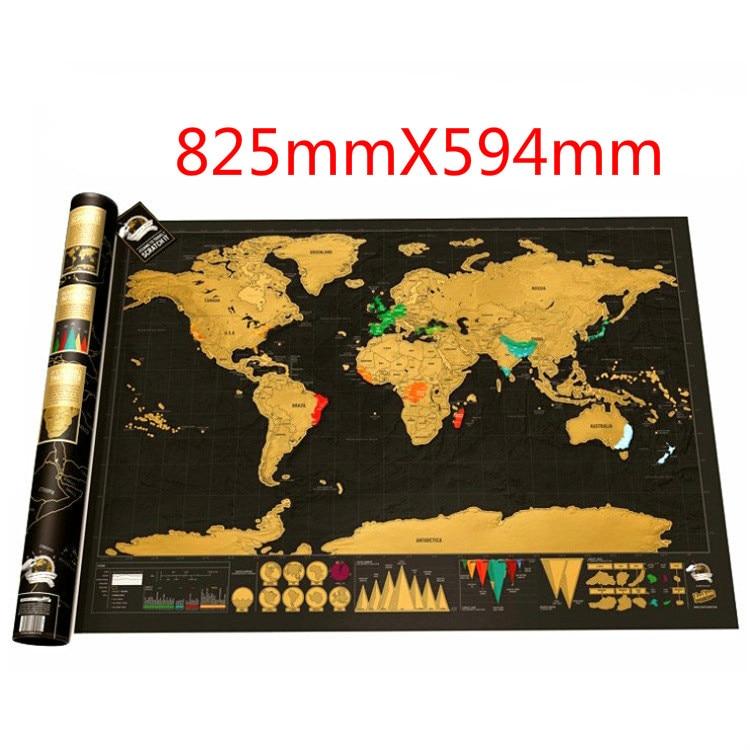 Скретч Карта мира путешествия плакат Медная Фольга наклейка персонализированный журнал Большой размер с цилиндрической упаковкой