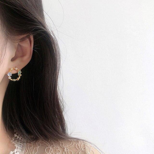 Novedad de 2020, pendientes clásicos redondos de cristal de color rosa y verde para mujer, anillo de flor dulce, joyería de moda, regalo Brincos