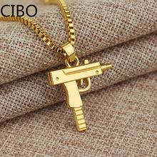 2019 New Metal gold Pistol Gun Uzi Pendant Necklace Men women HipHop Gothic-rifle Link Chain Necklace stainless steel Jewelry(China)