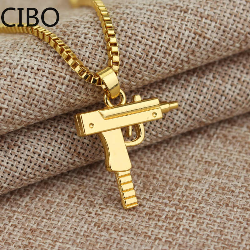 2019 nowy metalowy złoty pistolet pistolet Uzi naszyjnik mężczyźni kobiety HipHop Gothic-rifle Link Chain naszyjnik biżuteria ze stali nierdzewnej