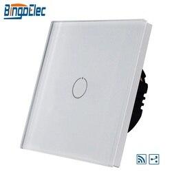 Ue/reino unido 1gang 2way interruptor de luz remoto sem fio, painel vidro branco, AC110-240V, 1/2 gang interruptor parede venda quente