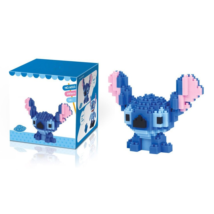 Cute Cartoon Stitch Building Blocks 280pcs Diamond Mini Bricks Stitich Model Block Educational Toys Kids Gifts