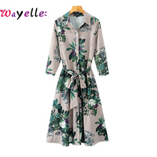 2019 Autumn  Vintage Women Dresses Floral Striped Long Sleeve Dress For Lady Bow Tie Elegant Pleated Casual Chic Female