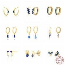 Boucles d'oreilles en argent Sterling 925 véritable en cristal bleu pour femmes et filles, bijoux fins en Zircon scintillant