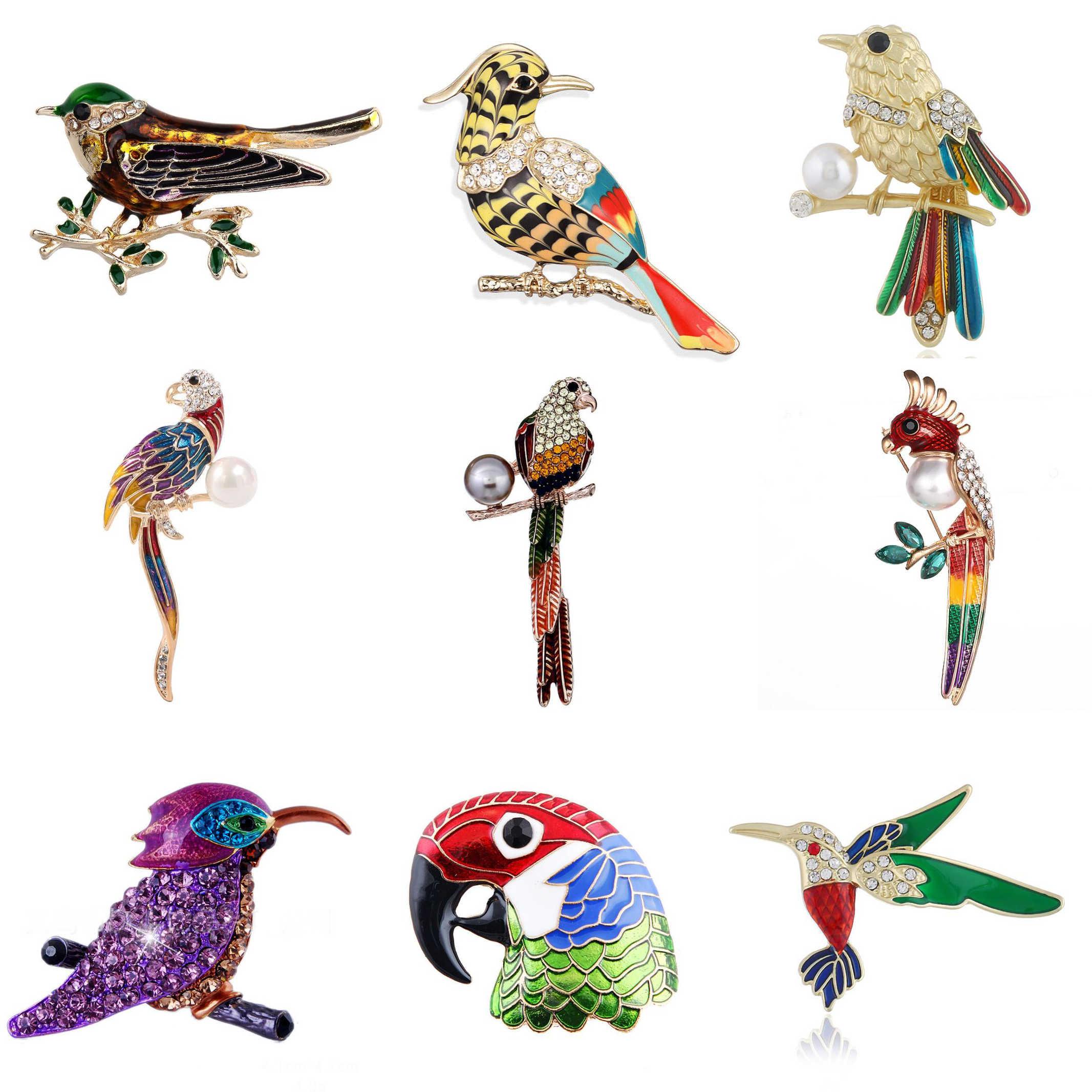 Brooch for Women Party Metal Blue Crystal Enamel Pin Black Bird Hummingbird Parrot Women Jewelry Girls Lady Cute Fashion Men