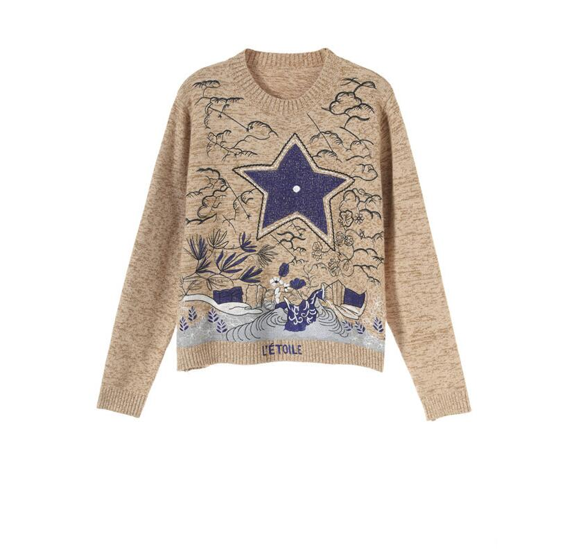 2020 Winter Christmas Women Pullover Female Tiger Embroidery Long Sleeve Loose Knit Luxury Brand Desinger Sweater Jumper Tops