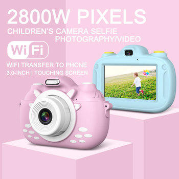 Kids Camera 3.0'' Touch Screen Dual Lens WiFi Transfer HD 1080P Digital Video Photo Mini Vlogging Camara Toys Children Best Gift