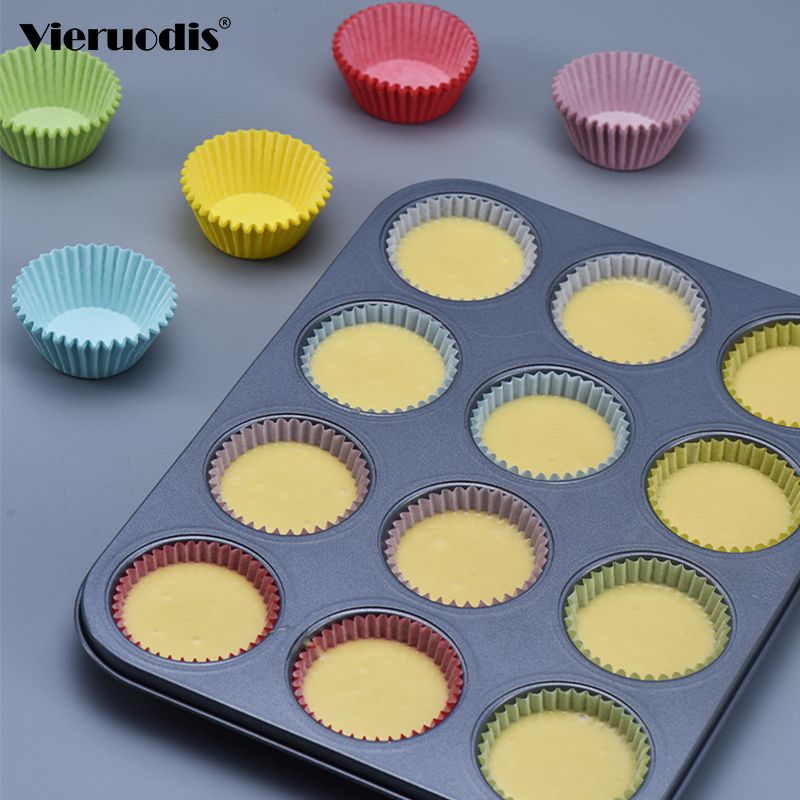 100PCS Set Muffin Cupcake Paper Cups Cake Forms Cupcake Liner Baking Muffin Box Cup Case Party Tray Cake Mold Decorating Tools