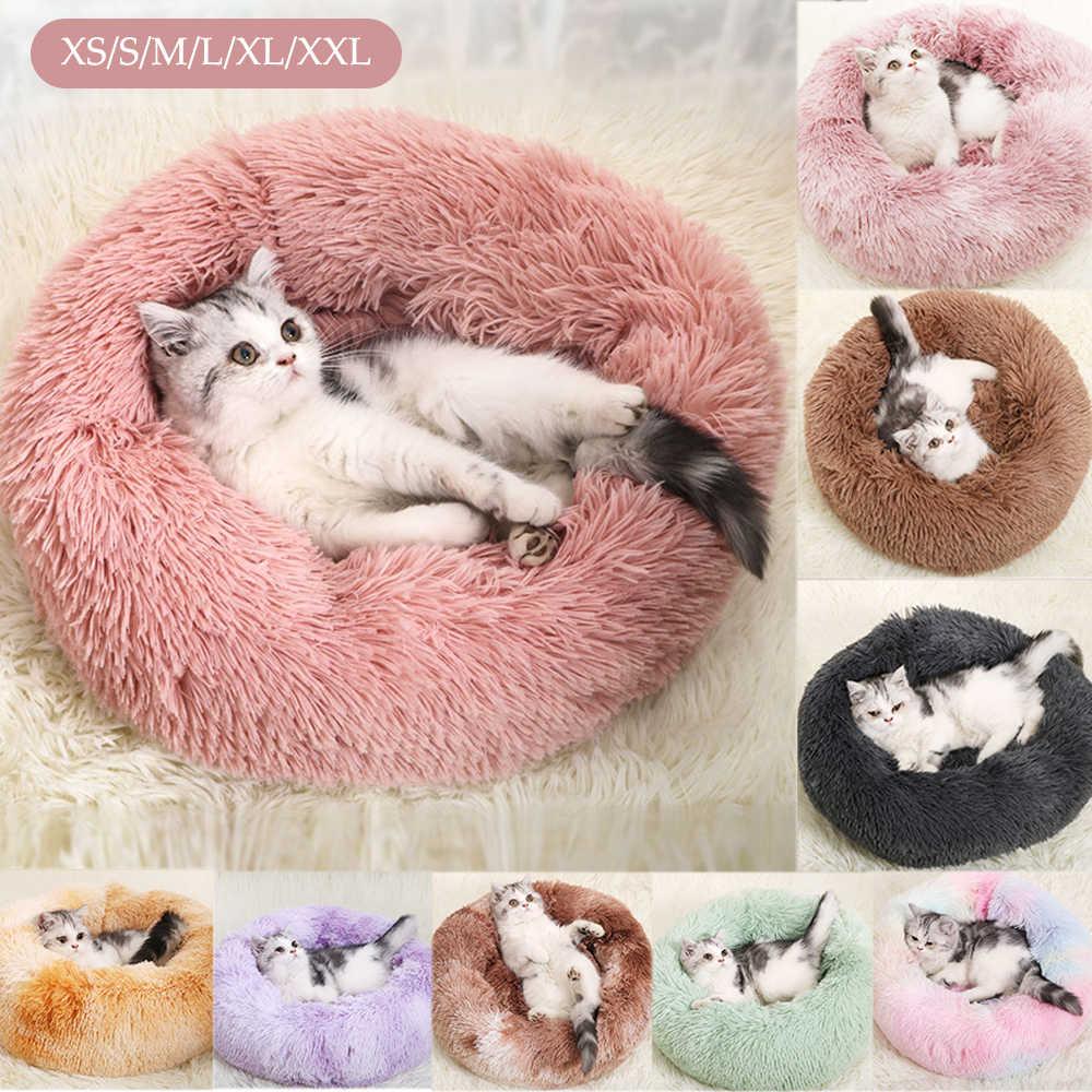 긴 봉제 푹신한 개 침대 애완 동물 개집 라운드 양털 안락 의자 고양이 침낭 겨울 따뜻한 소파 바구니 작은 대형 개 소파
