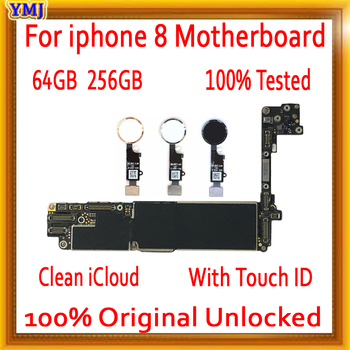 64GB 256GB Original unlocked for iPhone 8 Motherboard with/without Touch ID,Free iCloud for iphone 8 Mainboard with Full Chips