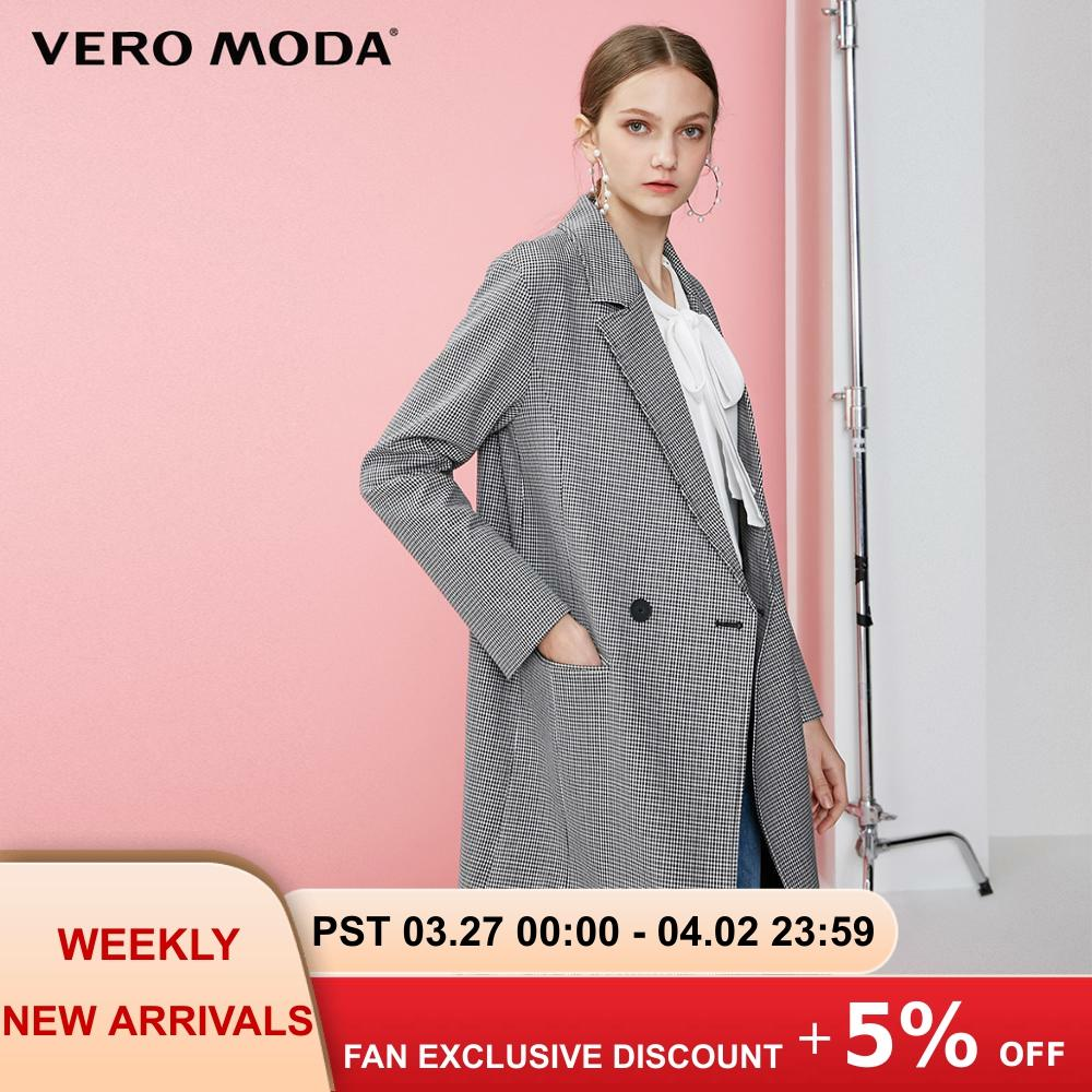 Vero Moda Women's Straight Fit Lapel Long Plaid Blazer | 319121546