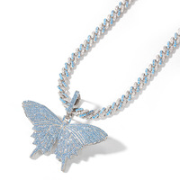 Blue AAA+ Cubic Zirconia Pave Bling Ice Out Butterfly Pendants Necklaces Men Women Hip Hop Rapper Favorite Necklaces Jewelry