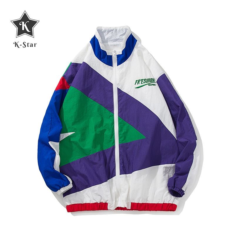 K-Star Streetwear Jacket Retro Color Stitching Full Zip Windbreaker Jacket Spring Autumn Casual Hip Hop Coat Youth Men