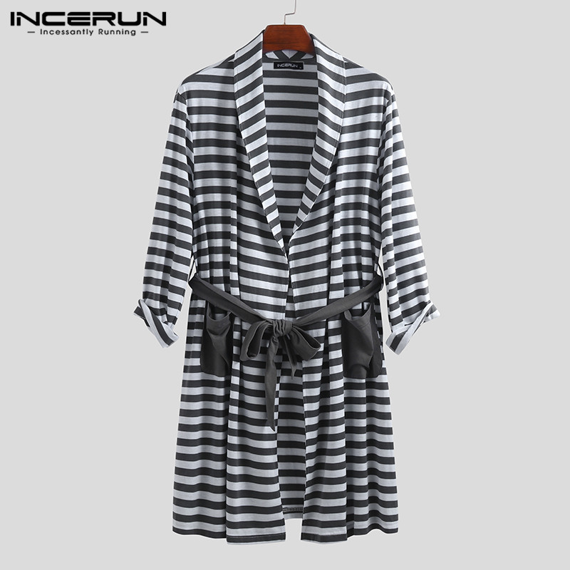 INCERUN Striped Men Pajamas Robes Fashion Homewear Kimono Pockets Lace Up Long Sleeve Casual Bathrobes Men Sleepwear 2020 S-5XL